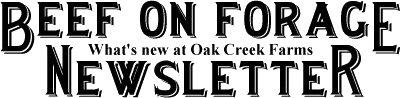 Oak Creek Farms Beef on Forage Newsletter. Learn what's new at Oak Creek Farms and why forage raising is so important.
